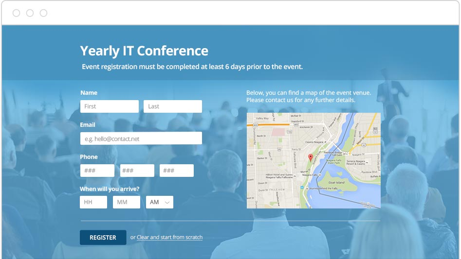 Create Free Online Event Registration Forms  Contactform