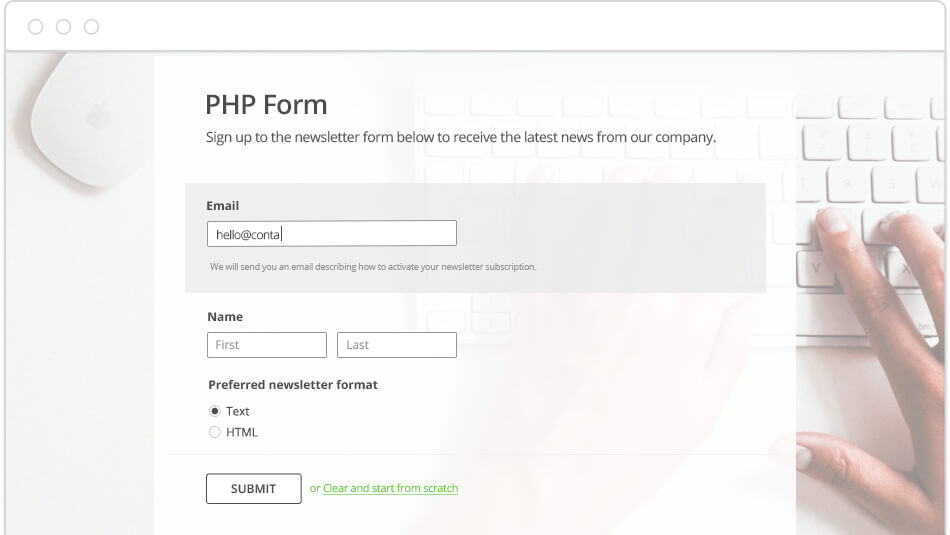 simple php contact form script for your website