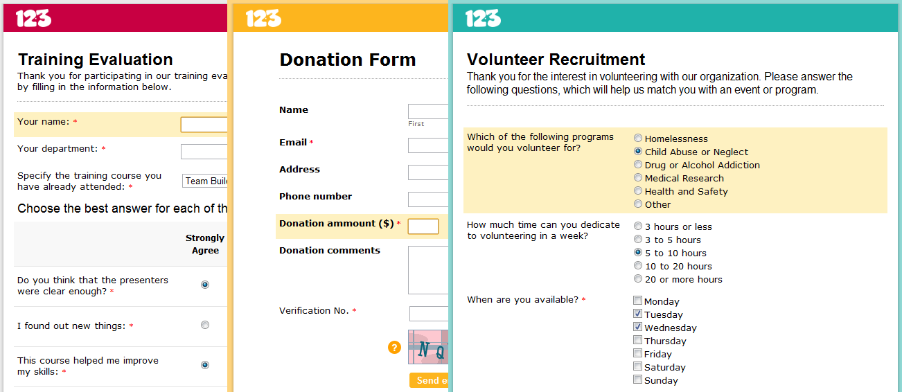 Forms and Surveys for Non-Profit Organisations
