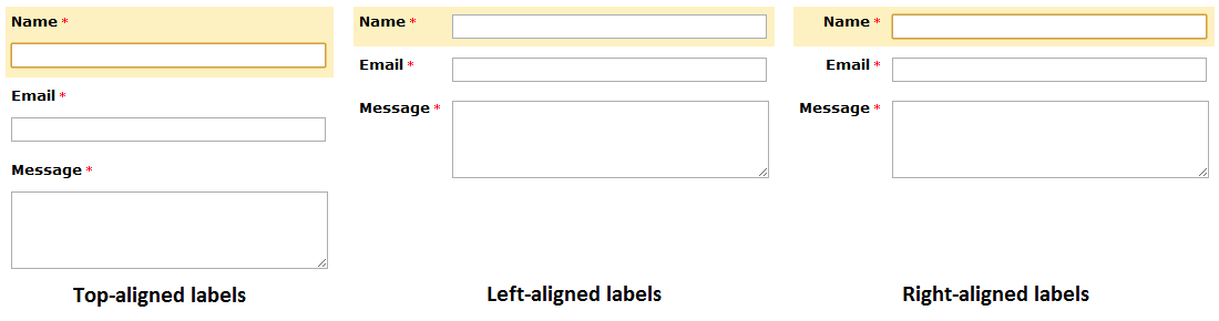 Form Field Label Positioning