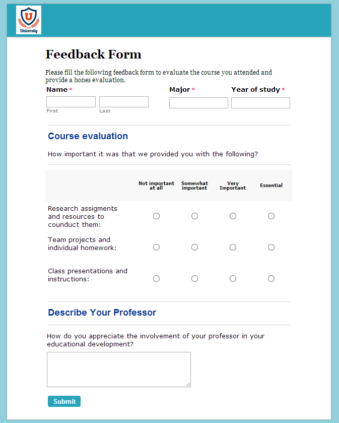 Online teacher feedback form