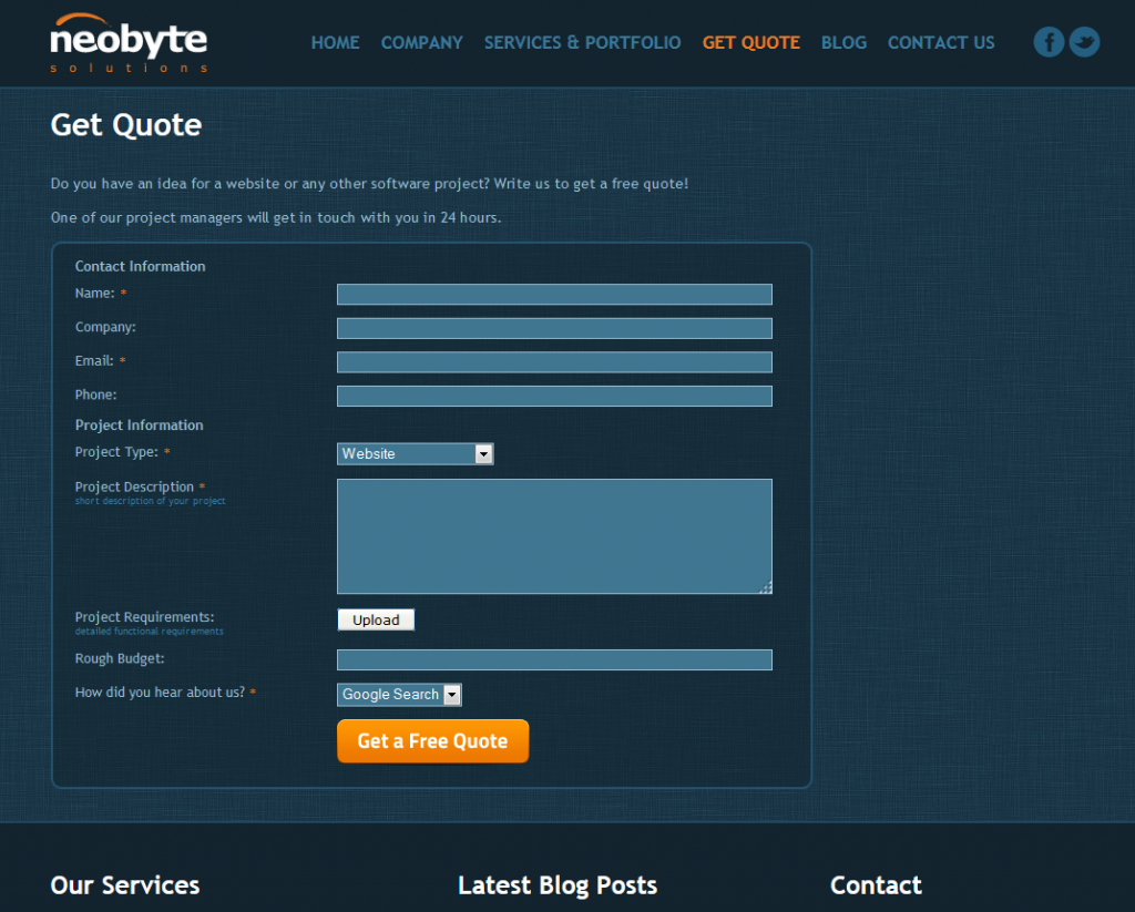 Neobyte Solutions get a quote form