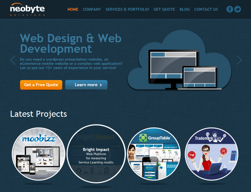 Neobyte Solutions homepage