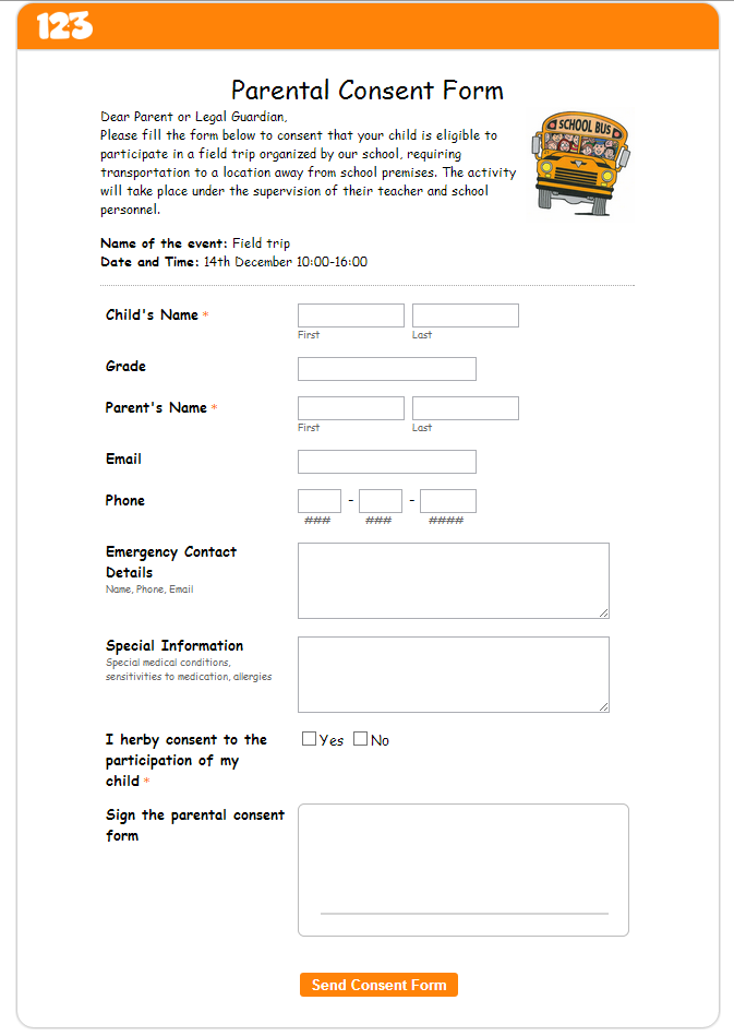 Online parental consent form