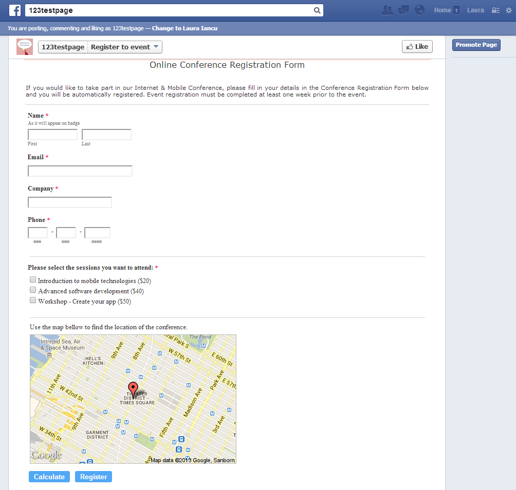 Event registration form for Facebook