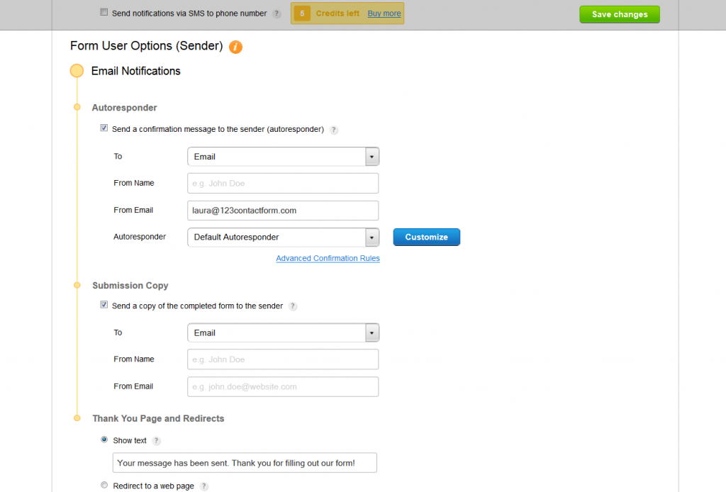 form user options