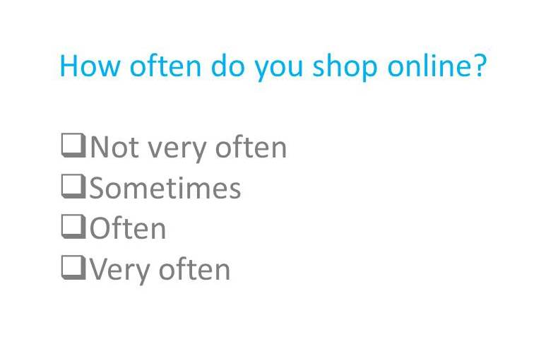 online shopping survey question